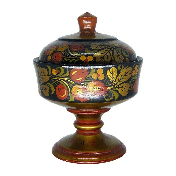 Pote em Madeira Russo Pintura feita a Mão Floral
