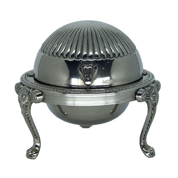 Porta Caviar Banhado em Prata Estilo Patas de Leão