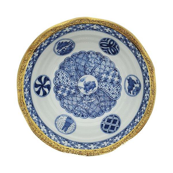 Bowl em Porcelana Japonês Ryuho Kiln Filetado em Ouro