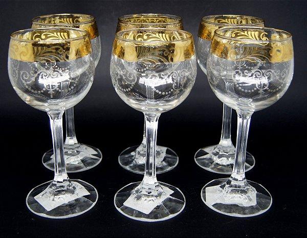 Taças Para Vinho Turca em Cristal Ouro 24k