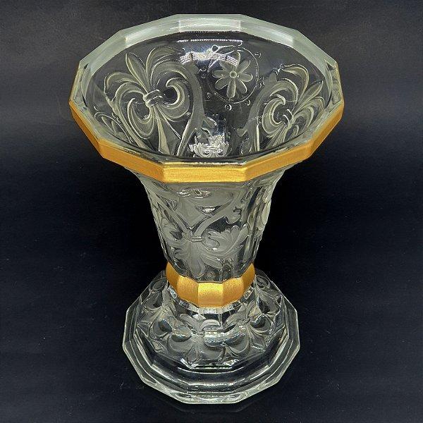 Vaso Centro de Mesa em Cristal Detalhes Dourado e Jateado