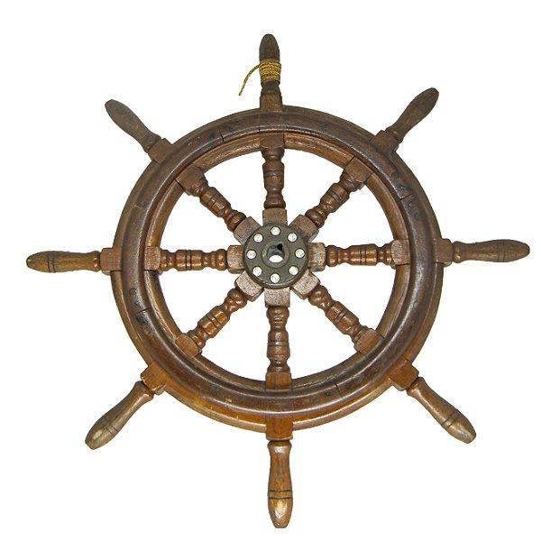 Timão Leme Parede Barco Marinheiro Enfeite Grande Madeira