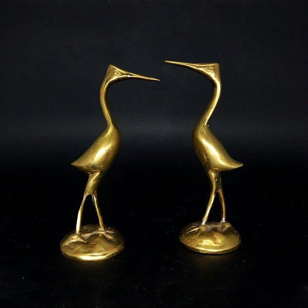 Par de Garças Decorativas em Metal Dourado