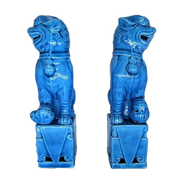 Par De Esculturas Cão Fu Em Cerâmica 16cm