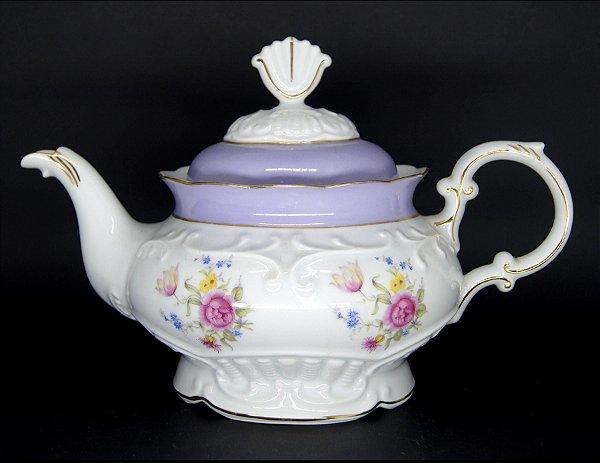 Bule em Porcelana Schmidt Luxo Motivo Flores