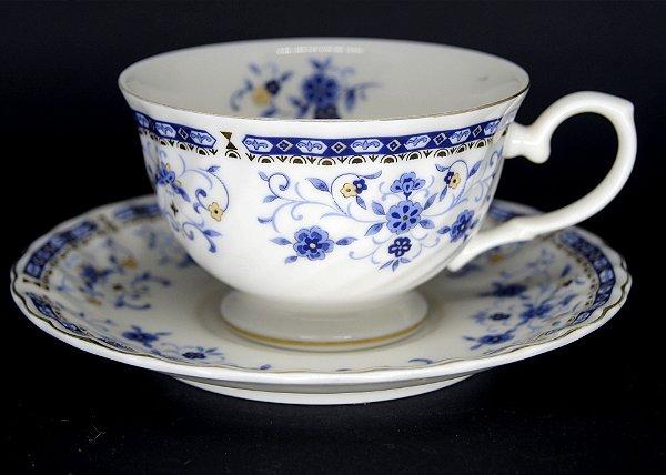 Jogo 10 Xícaras de Chá Em Porcelana White Bone Motivo Flores