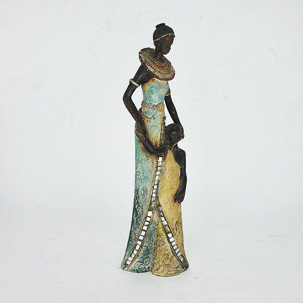 Estatueta em Resina Mulher Angolana com Filha