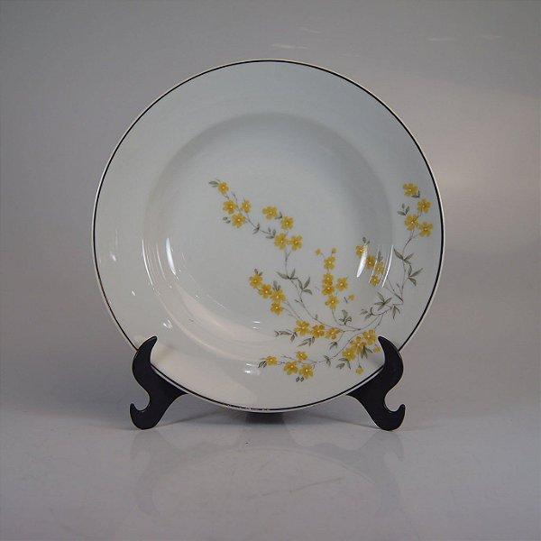 Prato em Porcelana Steatita Decorado em Flores