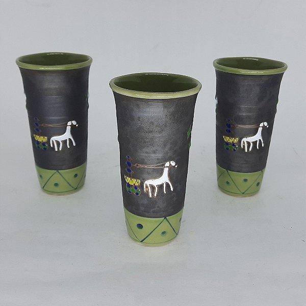 Jogo de 3 Copos Indianos Verde em Porcelana Pintado a Mão