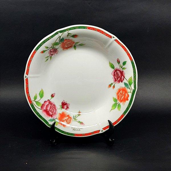 Prato de Sopa em Porcelana Floral Greenwich Filetado em Ouro