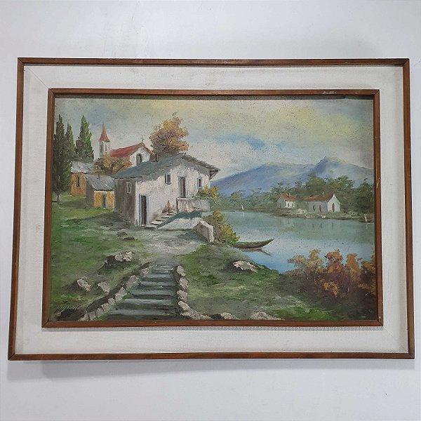 Quadro Casas À Beira do Lago Artista V.Vargas