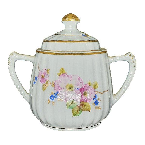 Açucareiro em Porcelana Estampa Floral Filetado a Ouro