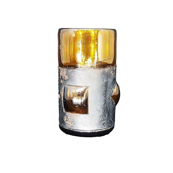 Copo em Vidro de Garrafa Cor Ambar c/ Base de Couro UNI (P)
