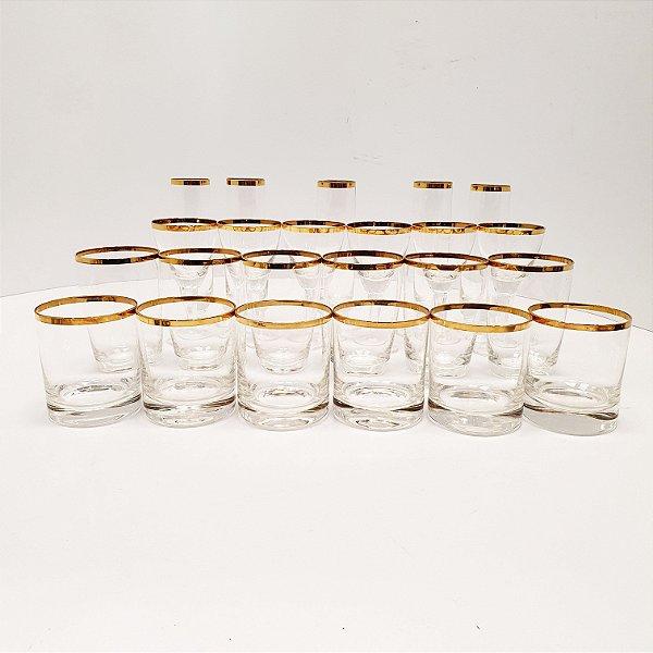 Jogo de Taças em Cristal Filetado a Ouro (23 Peças)