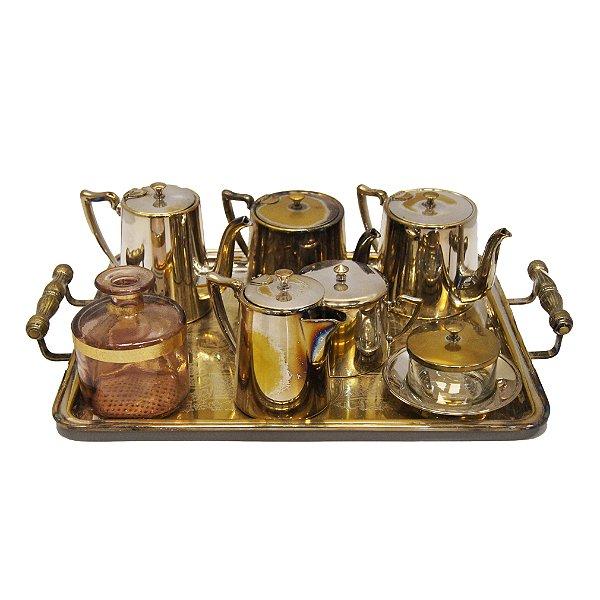Jogo de Chá/Café em Banho de Prata 90 BELLINI 7PÇS