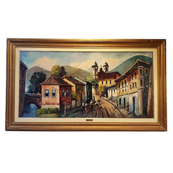 Quadro c/ Pintura Panorama Cidade 'H. Levier'