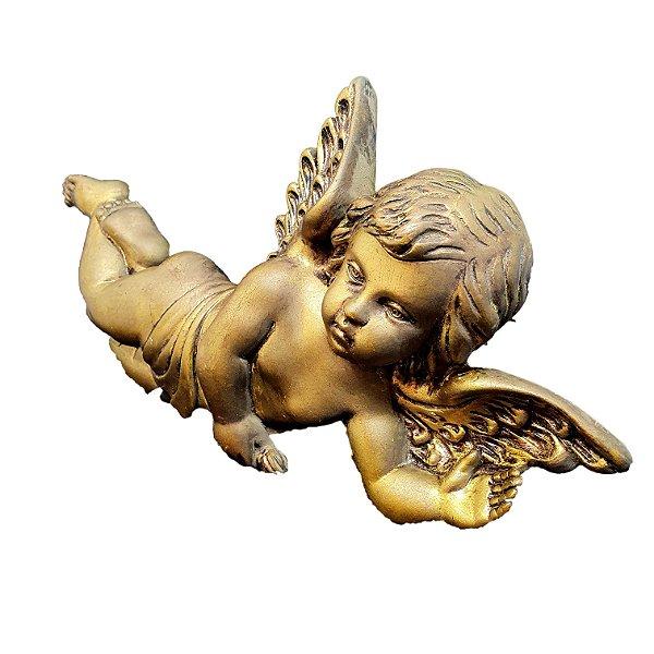 Escultura Anjinho em Gesso Pintura Dourada