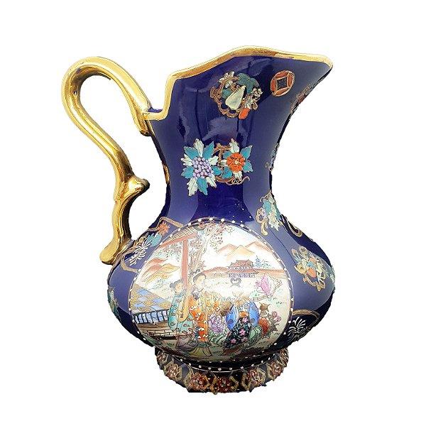 Jarra em Porcelana Chinesa Pintura á Mão Filetado em Ouro