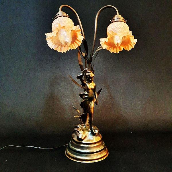 Luminária Petit em Bronze C/2 Cúpulas em Vidro Jateado Salmo