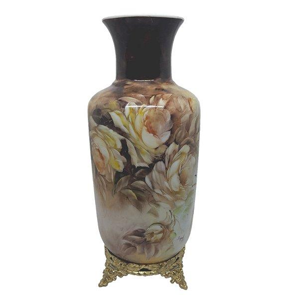 Vaso Alto em Porcelana Floral