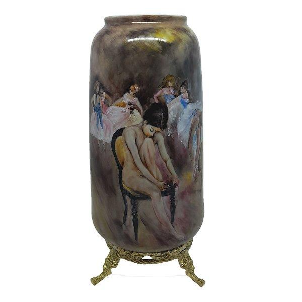Vaso Alto em Porcelana Bailarinas Pintado á Mão