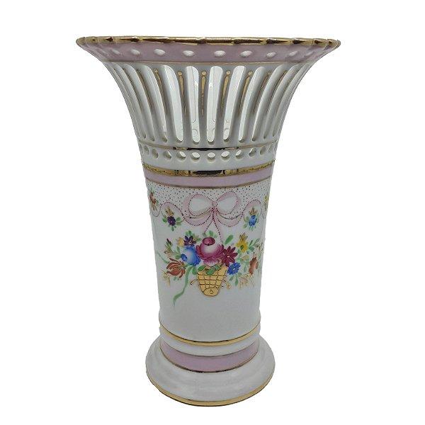 Vaso de Porcelana Alemã Pintada á Mão