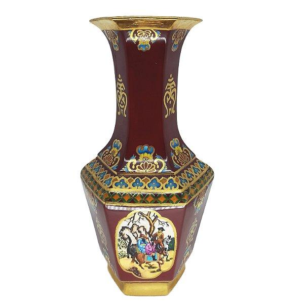 Vaso Alto em Porcelana Estilo Chinês