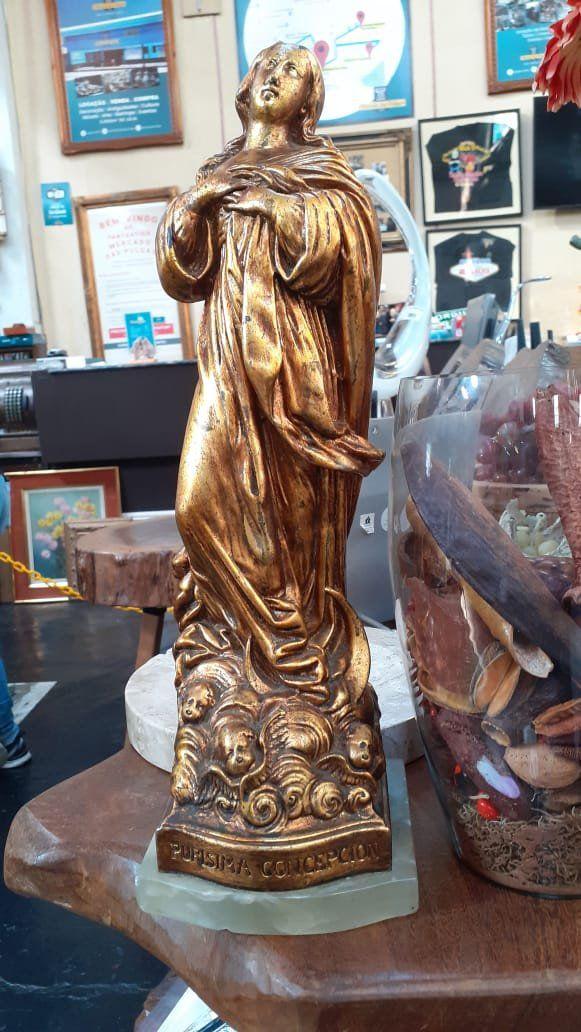 Estátua Nsa Sra Conceição Onyx Verde Folha de Ouro