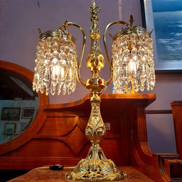 Luminária em Bronze e Gemas em Cristal C/ 2 Braços