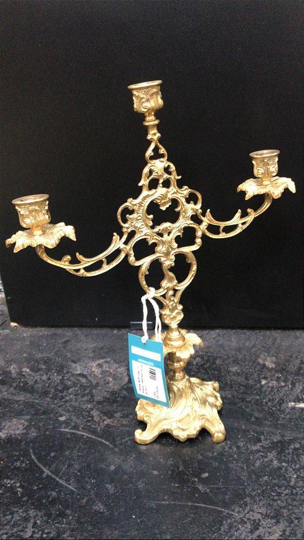 Castiçal de Bronze C/3 Braços Trabalhado Anos 60