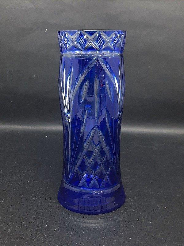 Vaso de Cristal Alemão Azul Cobalto Lapidado