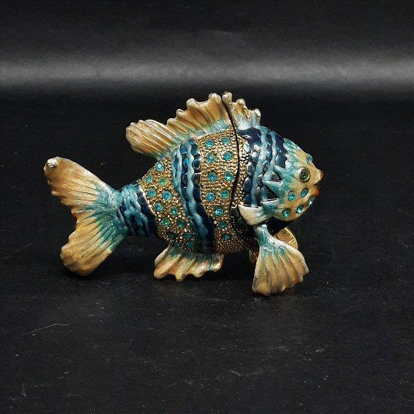 Mini Porta Joias Peixe Azul com Cristais de Cor