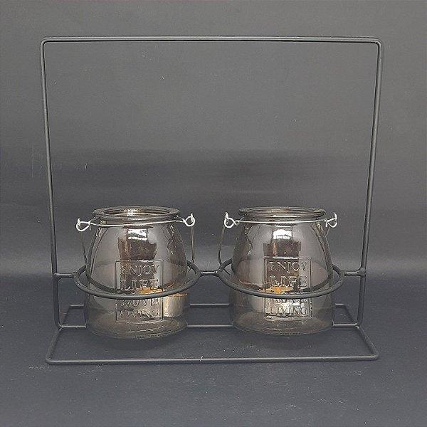 Porta Vela em Metal 2 Suportes Potes de Vidro