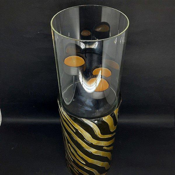 Porta Vela em Latão 3 Suportes Zebra Preto e Dourado