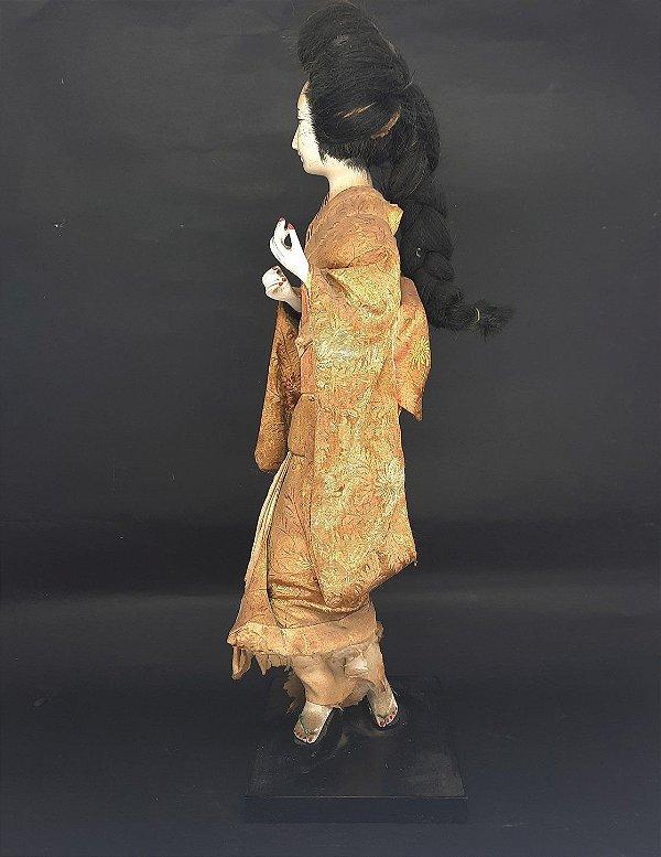 Gueixa Japonesa Quimono Dourado Anos 60