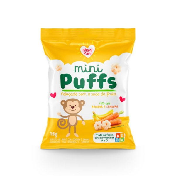Mini Puffs Snack Integral - Banana E Cenoura 6 Unidades 15g