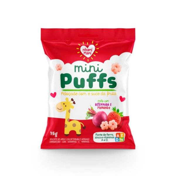 Mini Puffs Snack Integral - Beterraba/morango 12 Unidades 15g