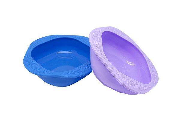 Kit Com 2 Tigelas Em Silicone Azul E Roxo