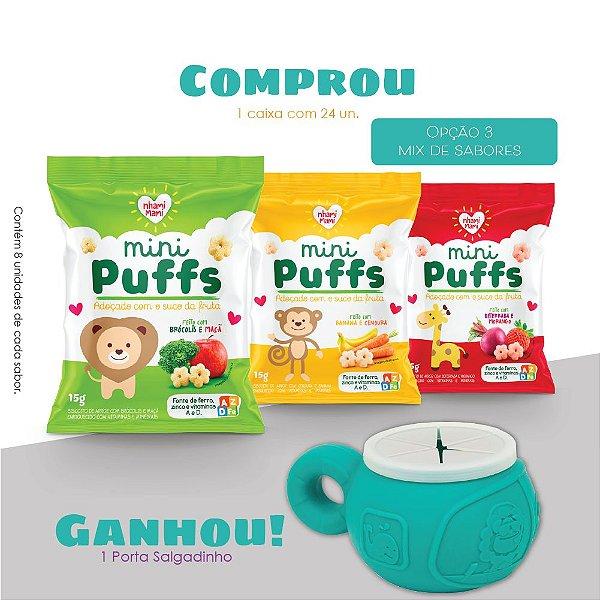 Mini Puffs Snack Integral Mix De Sabores 24 Unidades 15g - Elefante