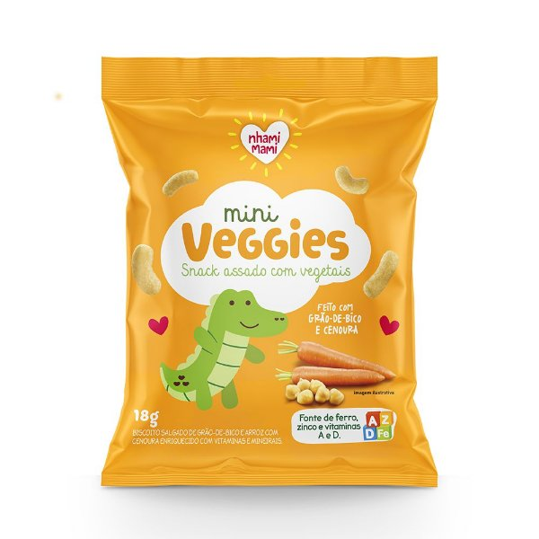 Mini Veggie Snack Integral  - Grão de Bico e Cenoura 6 Unidades 18g