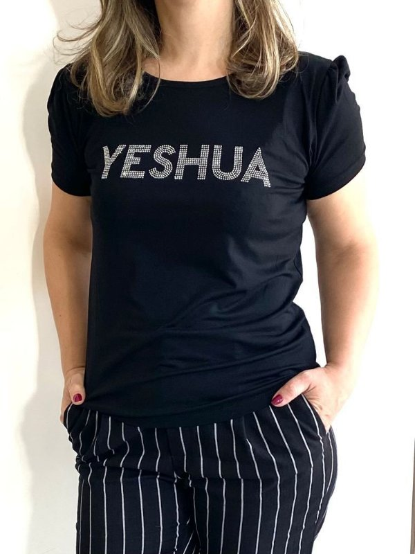 YESHUA STRASS (BL) PRETA - MANGA PRINCESA