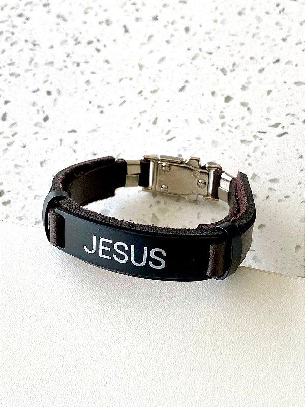 PULSEIRA COURO MARROM JESUS PLACA