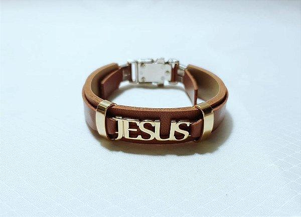 PULSEIRA COURO CARAMELO JESUS