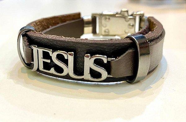 PULSEIRA COURO MARROM JESUS LETRAS