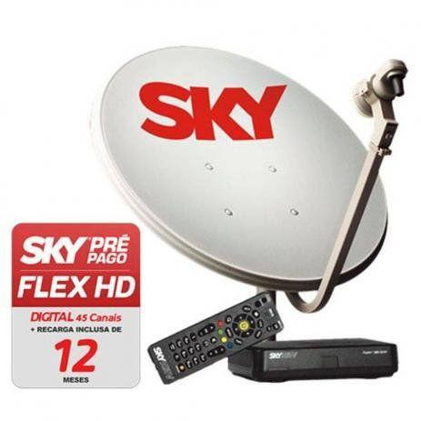 Receptor Sky Pré-pago Livre 12 Meses Antena 60cm Completa