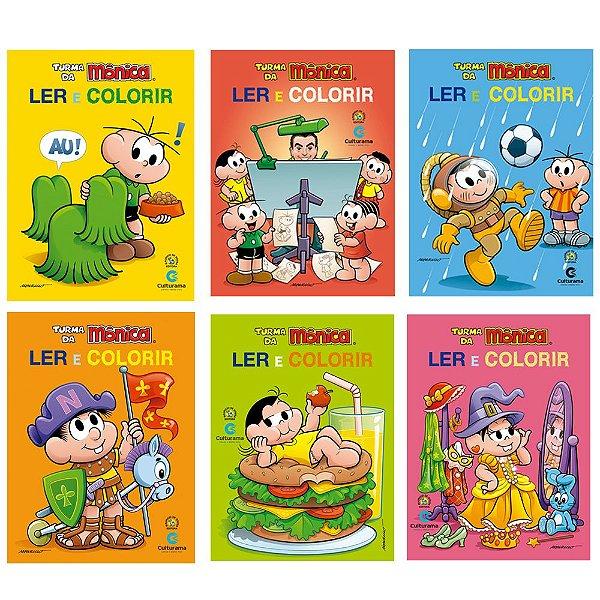 Kit 6 Livros Turma Da Monica Ler E Colorir Viajante Do Ceu