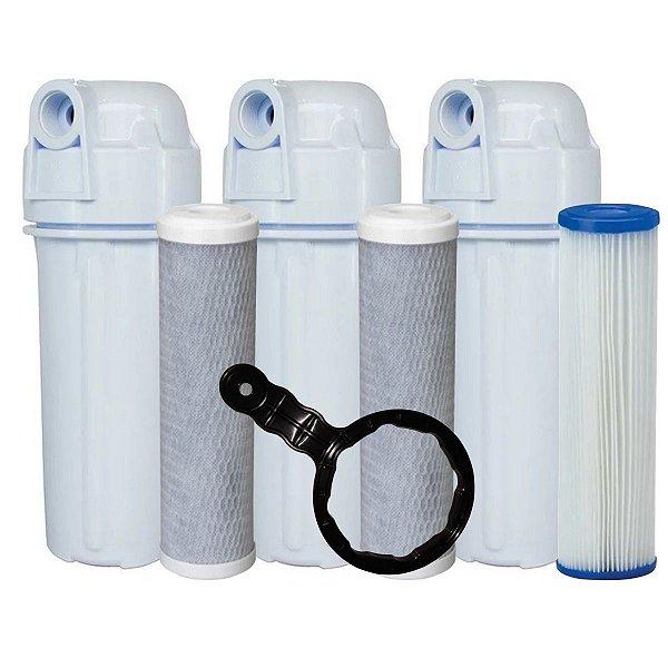 Kit 3 Filtros 1 Lavavel de polipropileno e 2 filtros de Carvão Ativado
