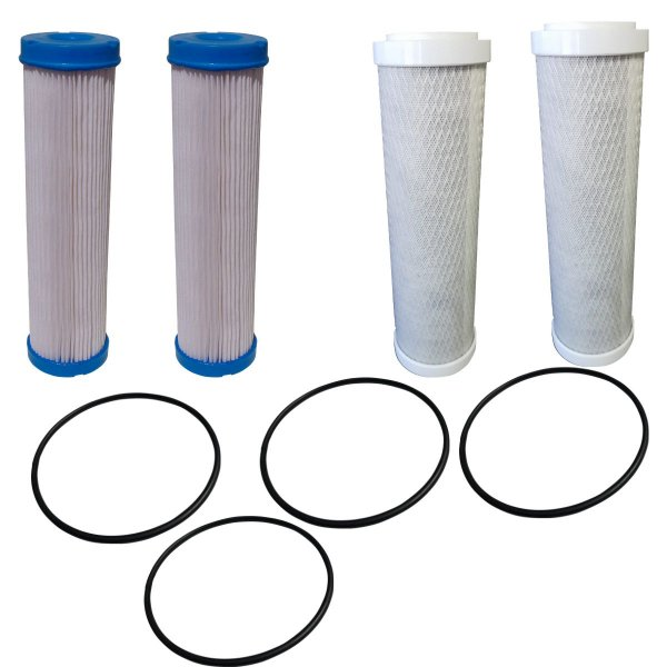 Kit de Reposição Com 4 aneis Oring 2 refis carvão ativado 2 refis plissado lavável