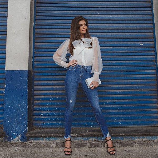 Calça Jeans Feminina Skinny Media Cigarrete DZ3369