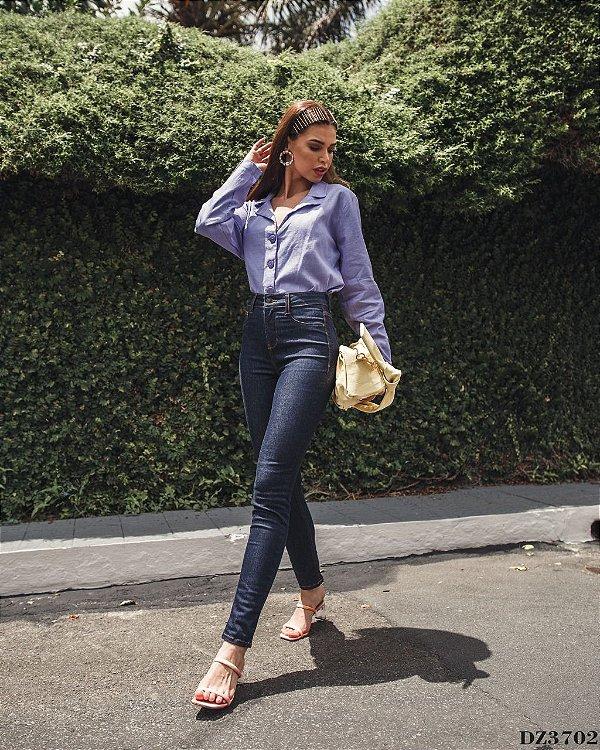 Calça Jeans Feminina Skinny Média Cigarrete Escura - DZ3702